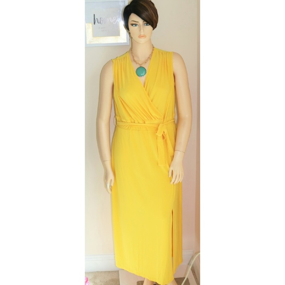 Ashley Stewart Yellow Maxi Dress Plus Size 1x